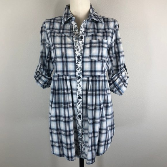 Free People Plaid and Floral Button-Front Shirt